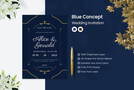 Blue Concept Wedding Invitation