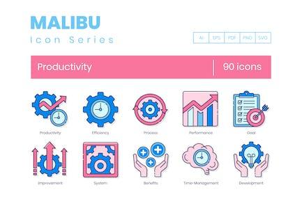 90 Icons für Produktivitätslinien