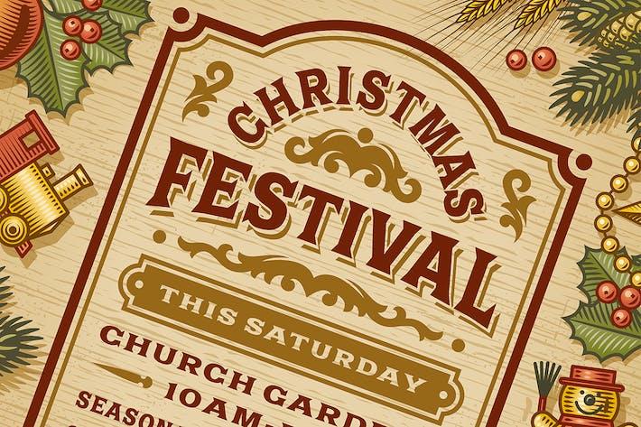 Thumbnail for Vintage Christmas Festival Poster
