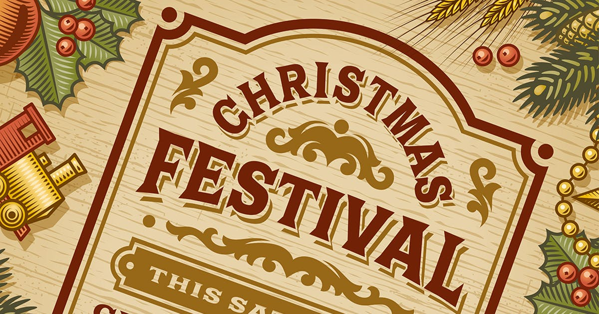 Vintage Christmas Festival Poster by iatsun