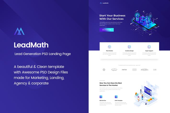 Thumbnail for LeadMath - Lead Generation PSD Landing Page