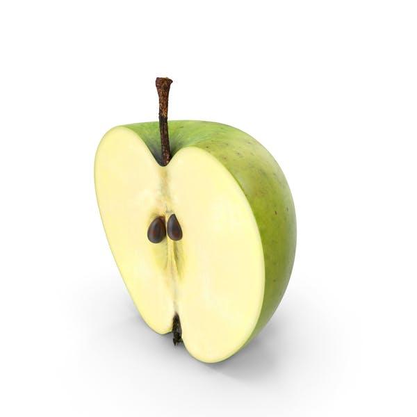 Grüner Apfel Halbschnitt