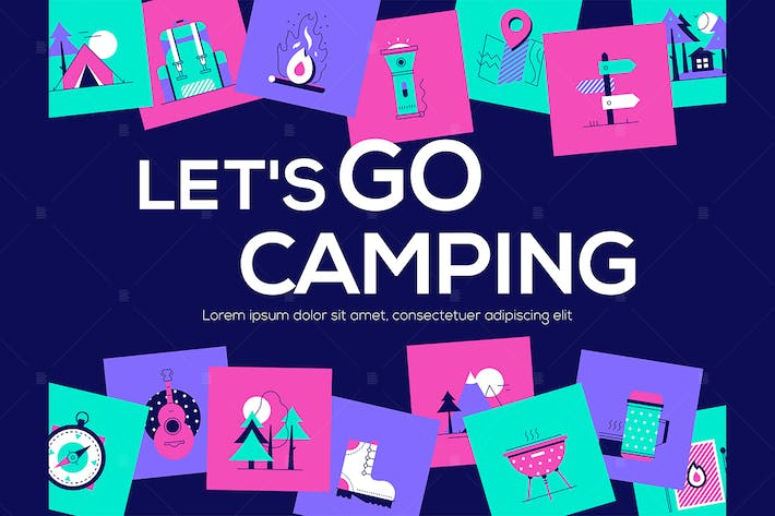 Thumbnail for Let's go camping - flat design style web banner