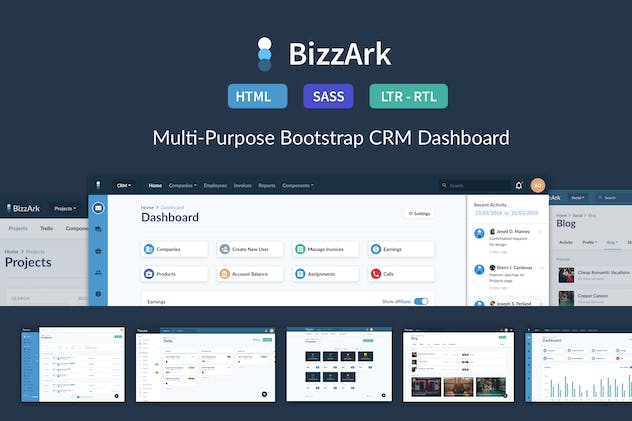 BizzArk - Multi-Purpose Business CRM Saas Admin - product preview 0
