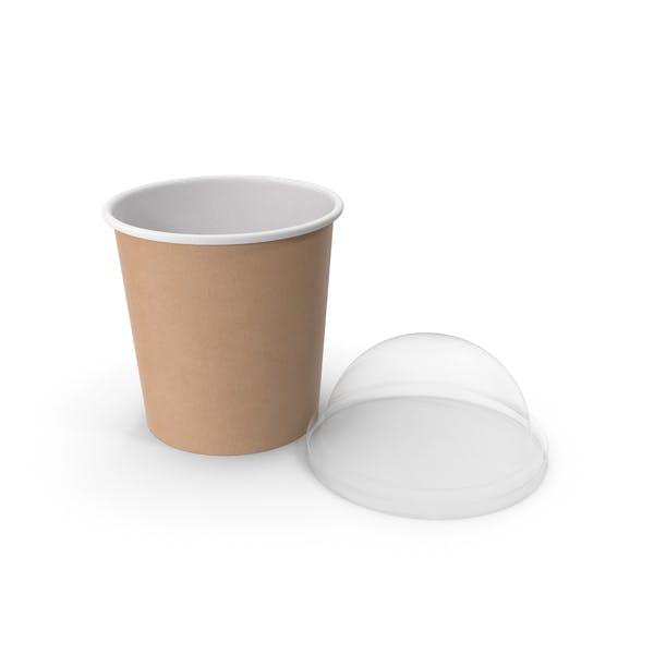 Taza de comida de papel kraft con tapa transparente para postre, 450 ml
