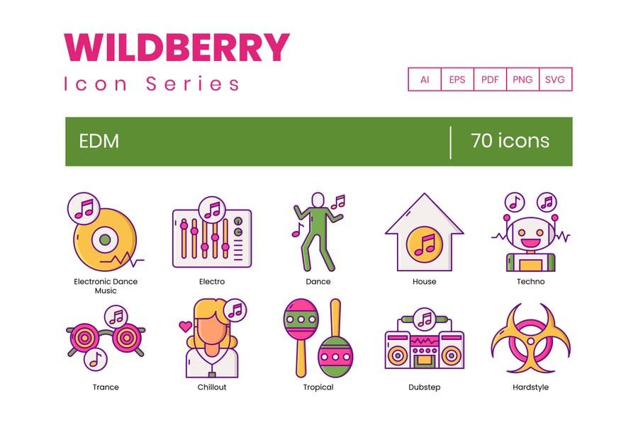 70 EDM-Symbole - Wildberry-Reihe