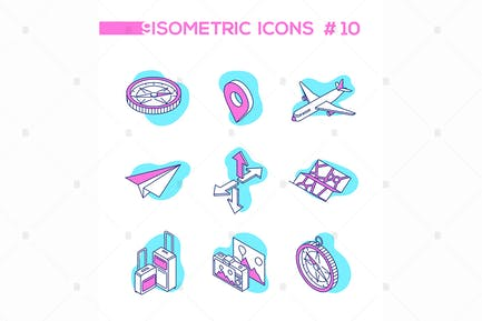 Traveling and location - line isometric objects