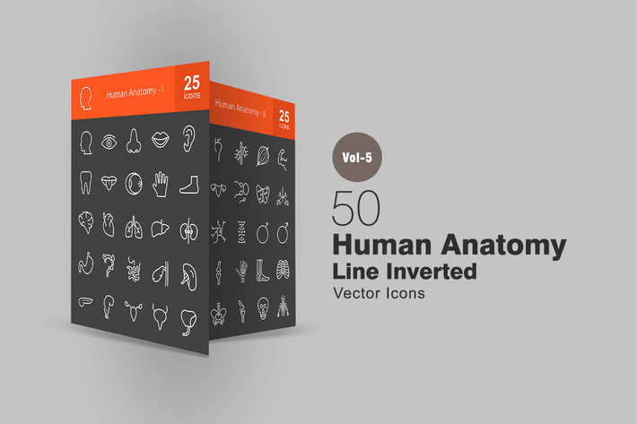 50 menschliche Anatomie Linie Inverted Icons
