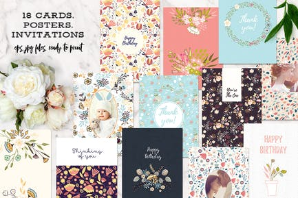 18 Cards, Invitations or Poster