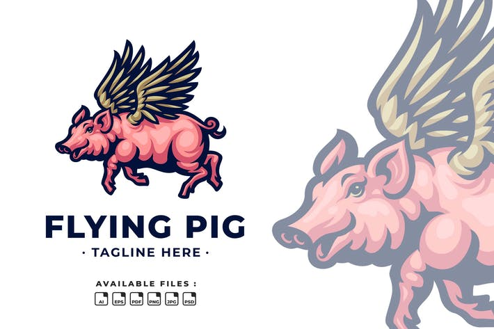 Thumbnail for Flying Pig Cartoon Logo
