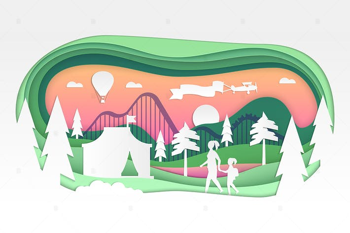 Cover Image For Funfair - vector paper cut illustration