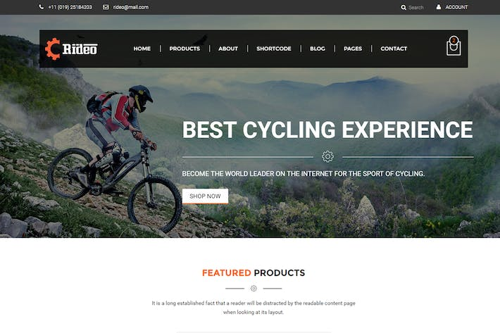 Cover Image For Rideo Mountain Biking Ecommerce Template