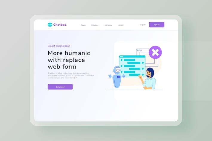 Chatbot AI Replace web form website Illustration