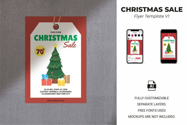 Thumbnail for Christmas Sale Flyer Template Vol. 01