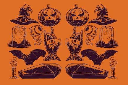 Vintage Halloween Illustration Pack 6