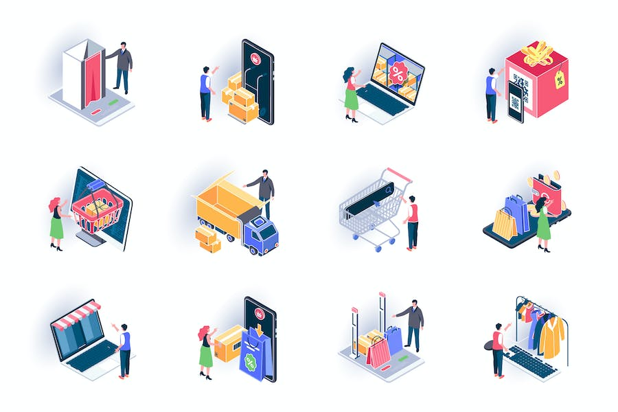 Online Shopping Isometric Icons Pack