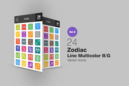 24 Zodiac Line Multicolor B/G Icons