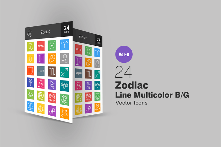 Thumbnail for 24 Zodiac Line Multicolor B/G Icons
