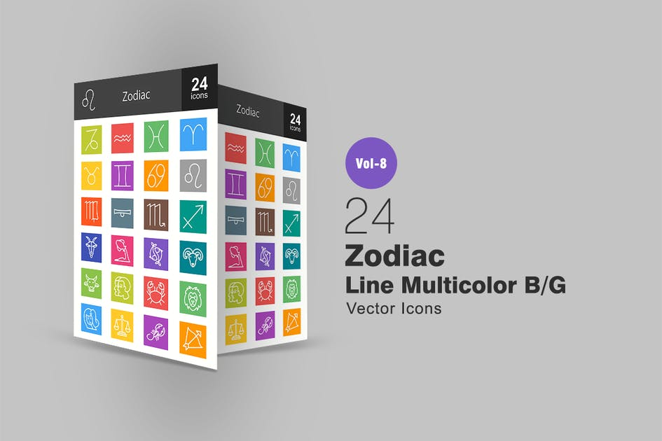 Download 24 Zodiac Line Multicolor B/G Icons by IconBunny