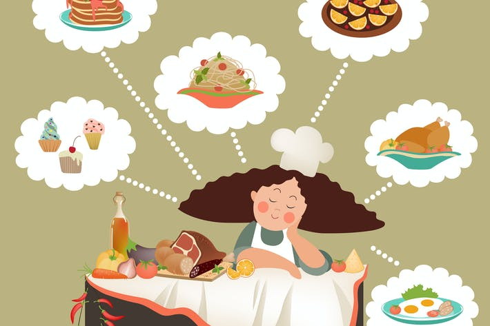 Thumbnail for Woman thinking what to cook in the kitchen. Vector