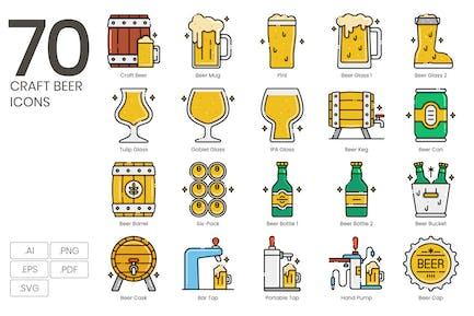 70 Craft Beer Icons - Aesthetics Serie