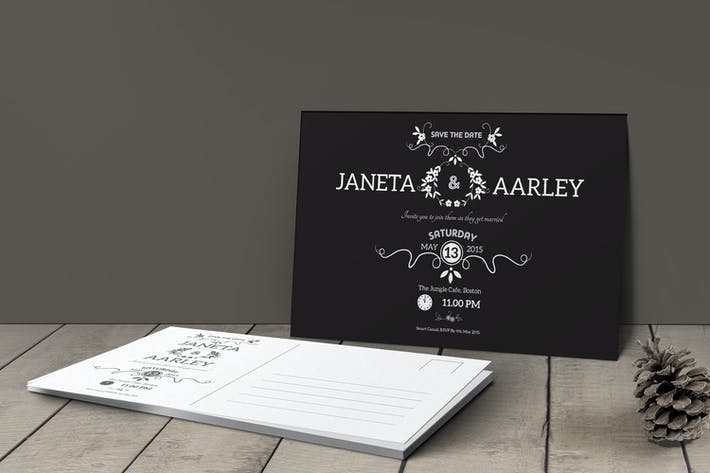 Thumbnail for Simple Wedding Invitation Post Card