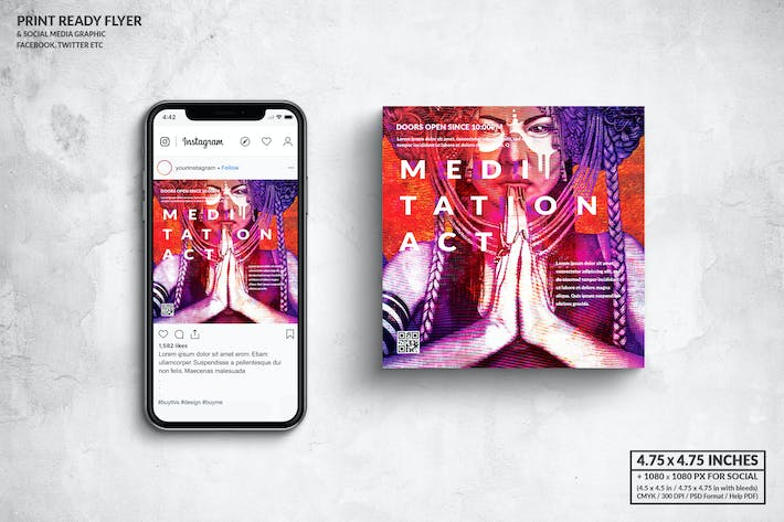 Thumbnail for Meditation Act Square Flyer & Social Media