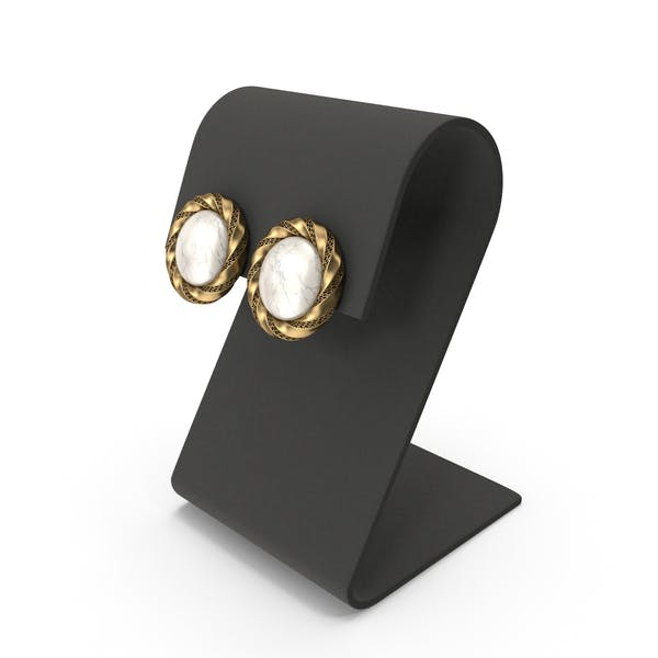 Gold Round Marble Earrings with Curved Top Display
