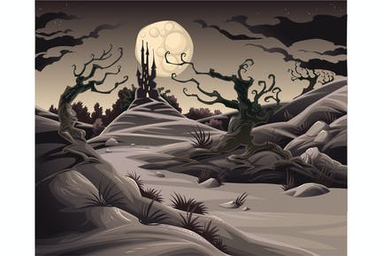 Horror landscape. Cartoon and vector illustration.