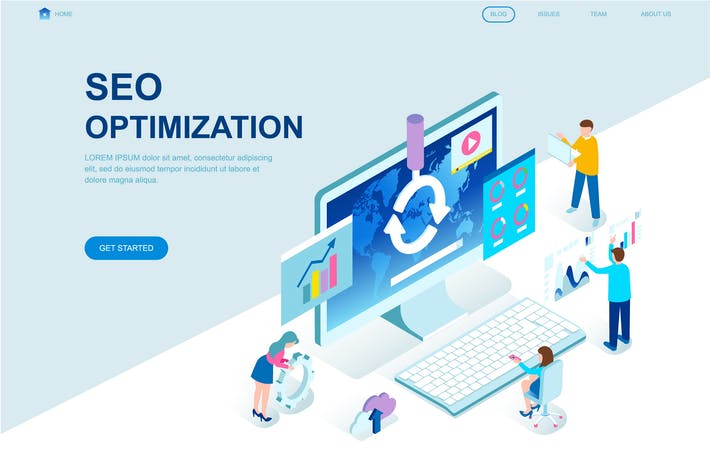 Cover Image For Seo Analysis Isometric Landing Page Template