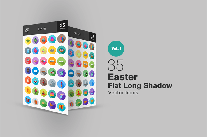 Thumbnail for 35 Easter Flat Long Shadow Icons