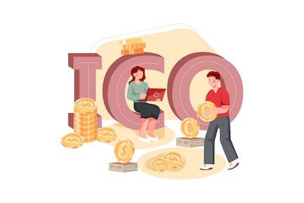 ICO Blockchain Illustration Concept