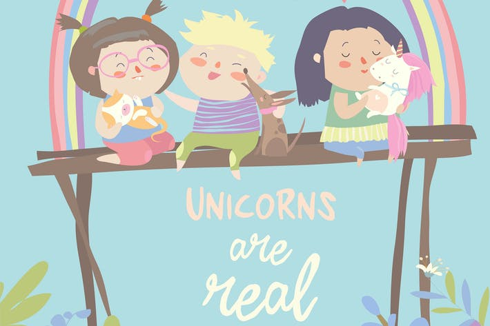 Thumbnail for Kids with their pets. One of them is unicorn