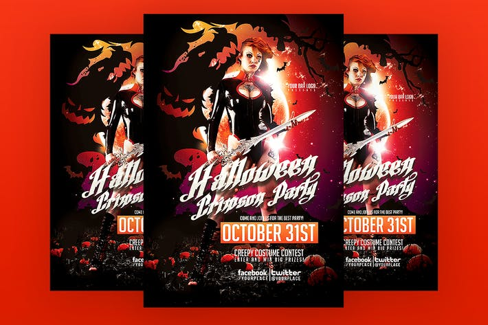 Thumbnail for Halloween Crimson Party Flyer Template