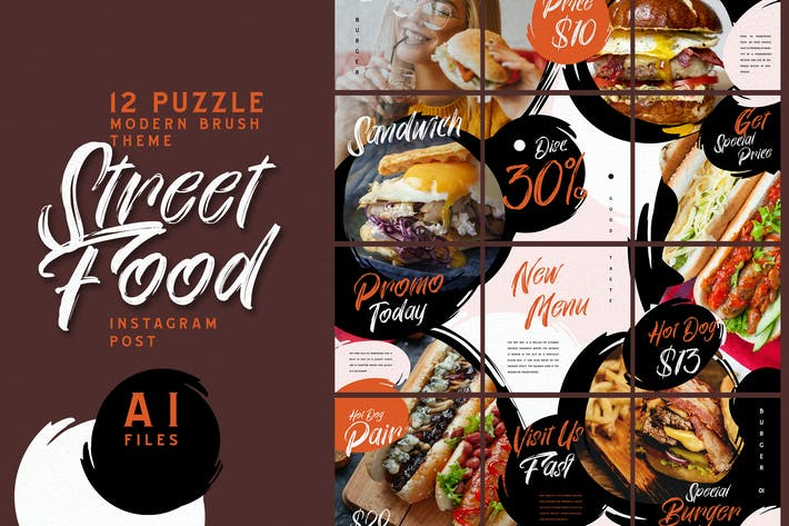 Thumbnail for Puzzle Brush Theme - Fast Food Instagram Post