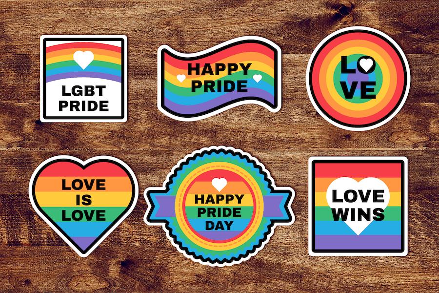 Pride Day Rainbow Stickers Set