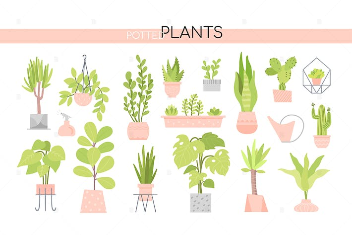 Thumbnail for Potted plants collection - set of elements
