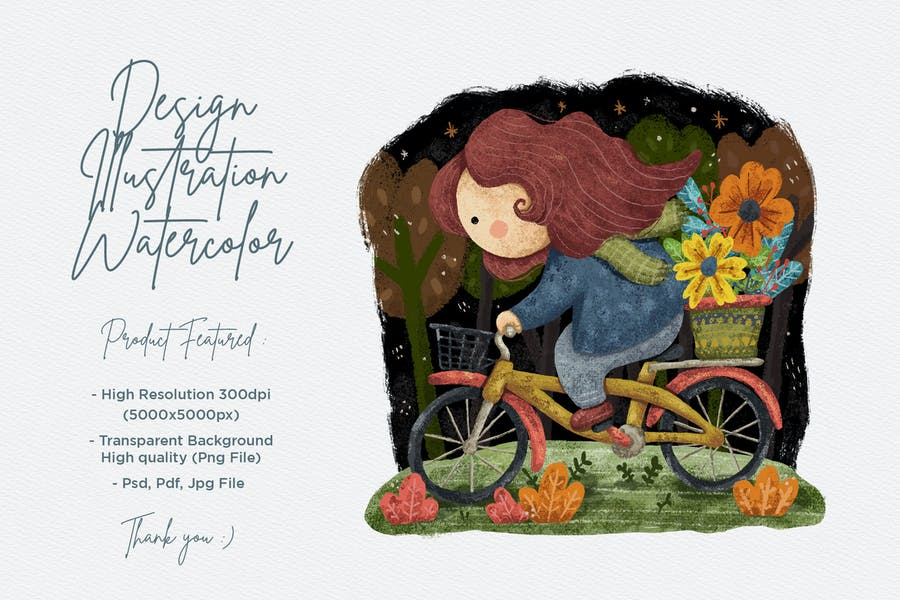 Mignonne fille Illustration Design avec aquarelle
