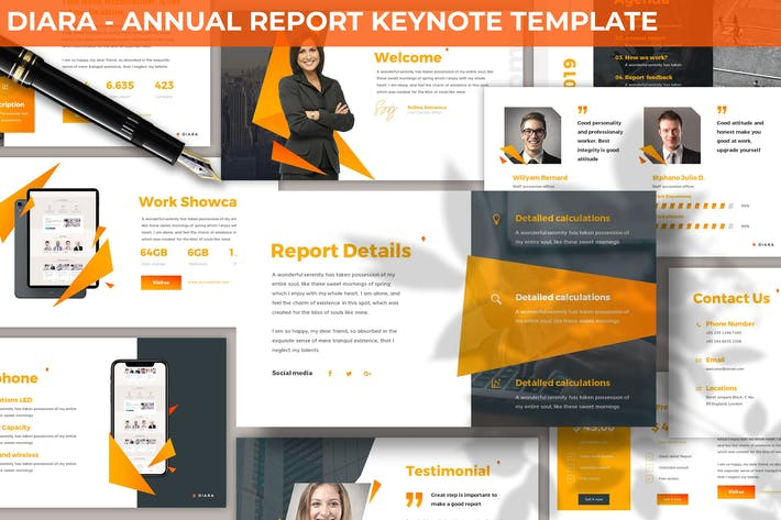 Thumbnail for Diara - Annual Report Keynote Template