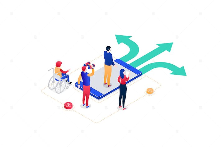 Thumbnail for Decision making - colorful isometric illustration