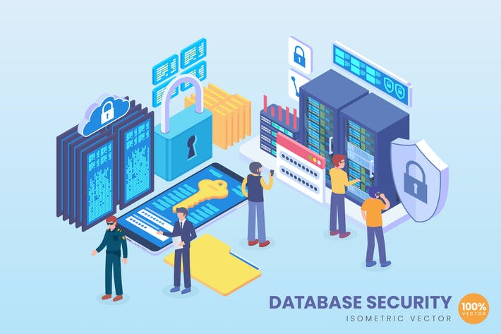 Cover Image For Isometric Database Security Vector Concept