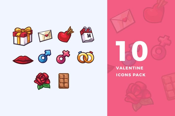 Thumbnail for 10 Valentine Icons Pack