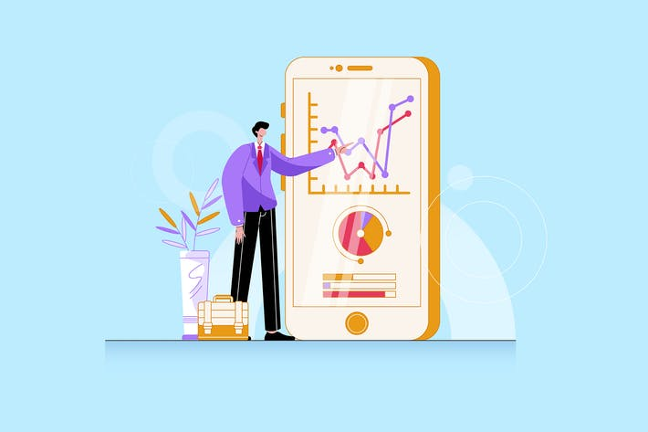 Thumbnail for a businessman standing in front of smartphone