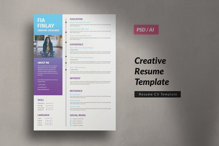 Thumbnail for CV Resume Graphic Design Vol. 6