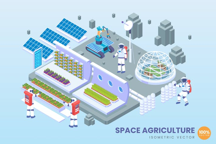 Thumbnail for Isometric Space Agriculture Technology Vector