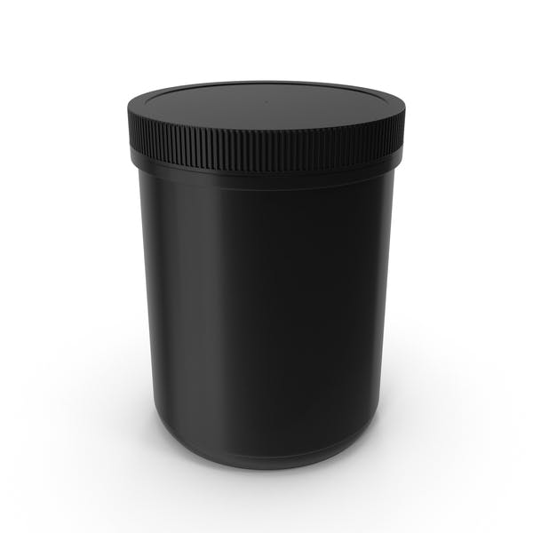 Plastic Jar Wide Mouth Straight Sided 60oz Closed Black