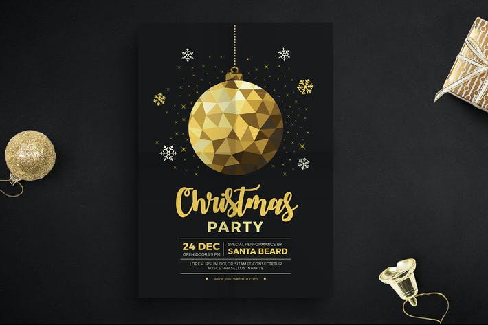 Thumbnail for Gold Christmas  Celebration Flyer