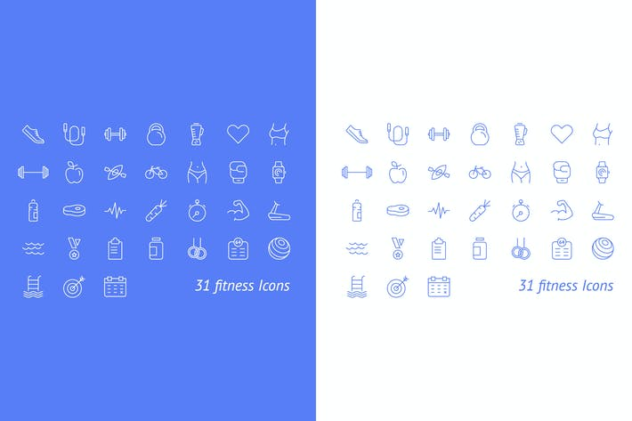 Thumbnail for Fitness and Sport Vector Icons Set