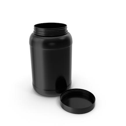 Plastic Bottles Wide Mouth Gallon Black Open