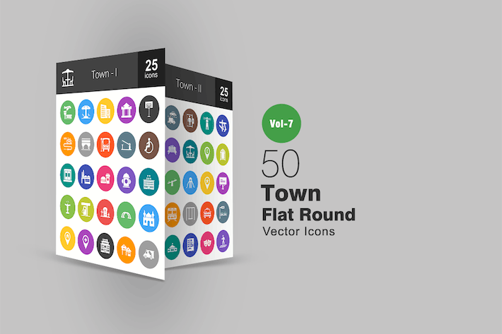 Thumbnail for 50 Town Flat Round Icons